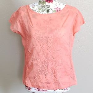NWT Gap Coral Embroidered Summer Top size sm3